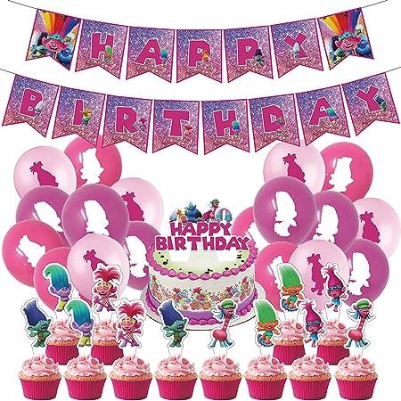 Tomicy Troll Decoración de Cumpleaños para niña, Troll Globo Látex Confeti Fiesta en Globo Adorno de Torta Feliz Cumpleaños Conjunto de Pancartas Decoración Chica Novia