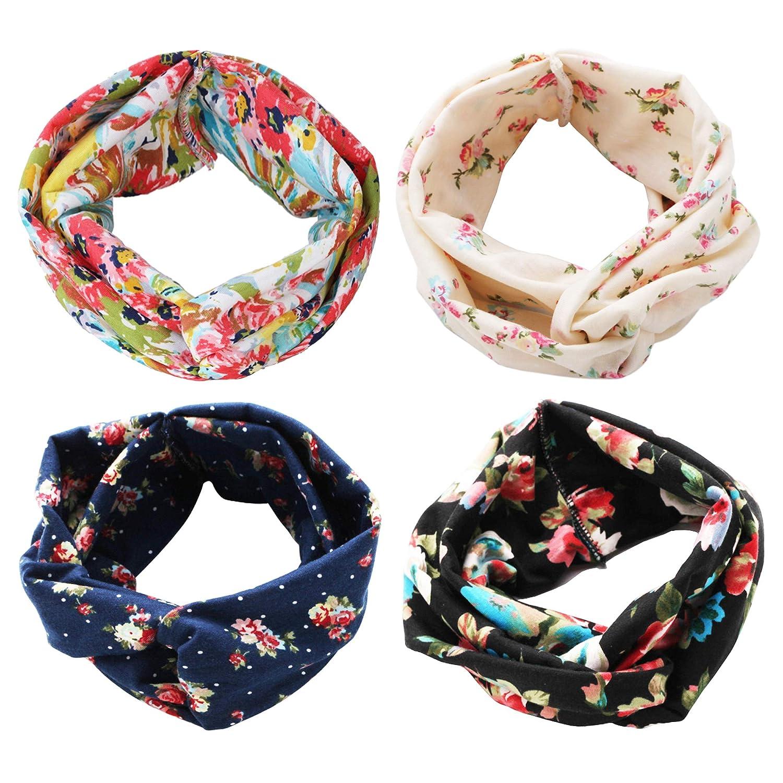 4 Pack Women Headband Boho Floal Style Criss Cross Head Wrap Hair Band Set1