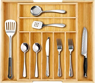 One Sight Pure Bamboo Large Expandable Kitchen Drawer Organizer Drawer Dividers for Utensil Tray, Cutlery and Utility, Adjustable Silverware Holder Kitchen Knives Tray Flatware Drawer Organizer