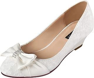 ERIJUNOR Women Comfort Mid Heel Wedges Closed Toe Lace Satin Bow Wedding Shoes