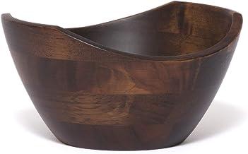 Lipper International Walnut Finish Small Wavy Rim bowl,