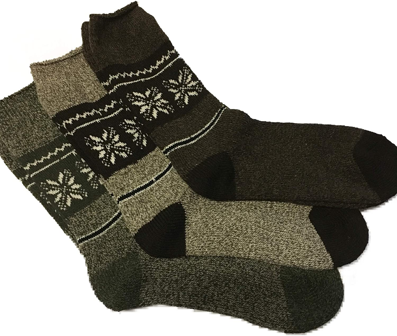 3 pairs mens heavy thermal fairisle socks.size uk6-11.warmth