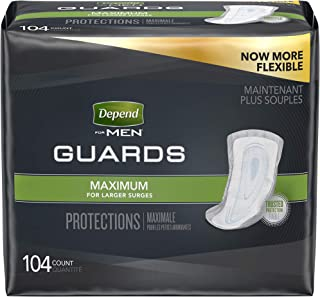 Depend Incontinence Guards for Men, Maximum Absorbency, 2 Packs of 52, 104 Total Count (Packaging May Vary)