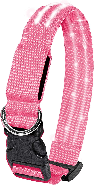 MELERIO Collar Luminoso Perro de Mascota 3 Modos Collar Perro Luz con Recargable y Impermeable Ajustable Collares LED para Perros Peque/ños//Medianos//Grandes