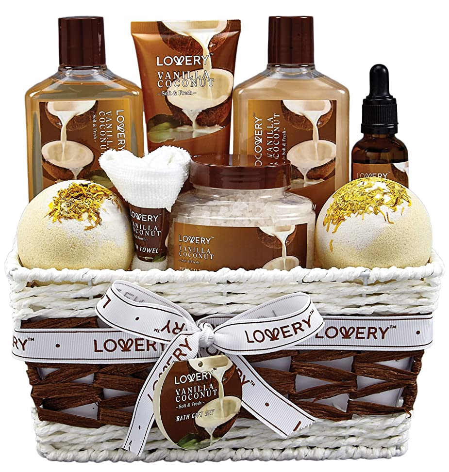 Bath and Body Gift Basket For Women and Men – 9 Piece Set of Vanilla Coconut Home Spa Set, Includes Fragrant Lotions, Extra Large Bath Bombs, Coconut Oil, Luxurious Bath Towel & More lgcxhasi673