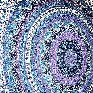 Jaipur Handloom Purple Elephant Mandala Tapestry Wall Hanging Indian Hippie Tapestry Bohemian Bedding Bedspread Beach Coverlet Throw Dorm Tapestry Bedding Dorm Decor