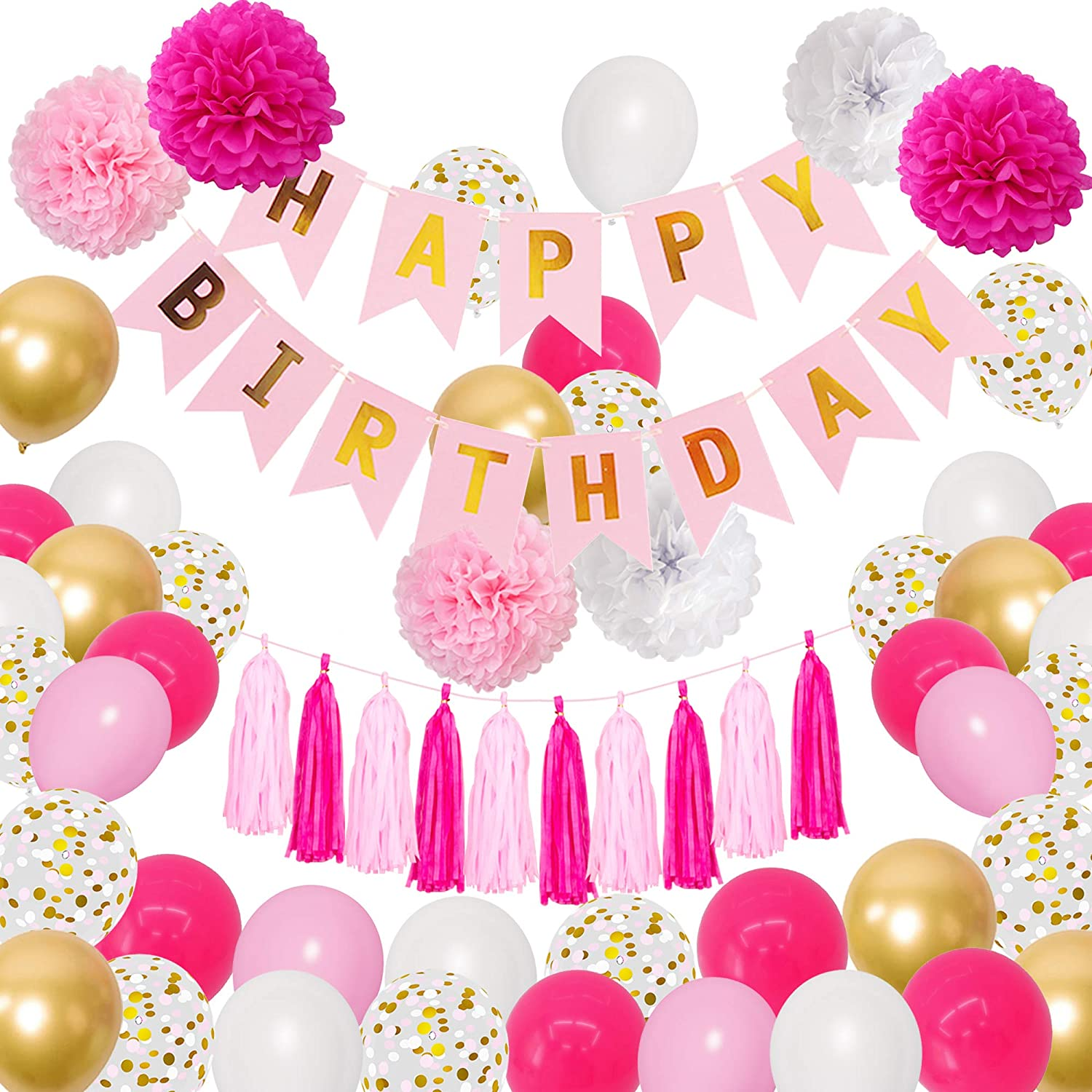 Amandir Hot Pink Birthday Party Decorations, Pink Gold White Confetti Latex Metallic Balloons with Happy Birthday Banner Paper Pom Poms Tassels Birthday Party Supplies for Women Girls
