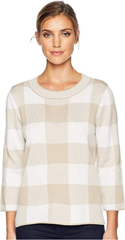 Long Sleeve Crew Neck Check Pattern