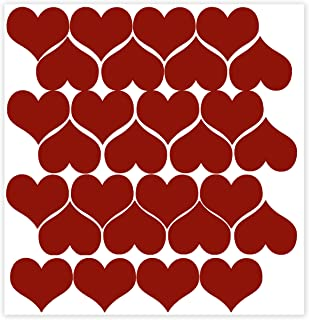 Wall Decor Plus More WDPM472 Heart Wall Vinyl Stickers for Home Decor 2-Inch Peel-N-Stick, Red, 28-Piece