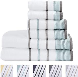 100% Turkish Cotton Striped Bath Towels, Luxury 6 Piece Set – 2 Bath Towels, 2 Hand..