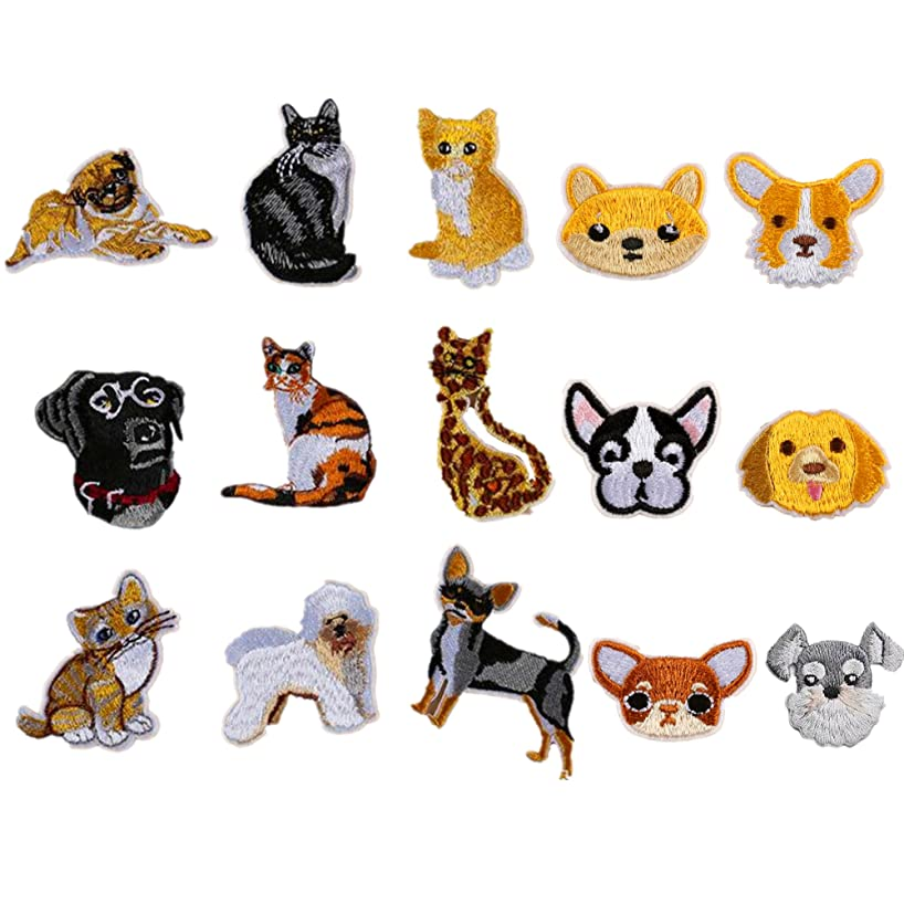15pcs Cute Dog Cat Iron on Patches Embroidered Applique Motif