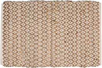 Jute Cotton Rug 2x3 Feet (24x36 inches) - Hand Woven by Skilled Artisans, for Any Room of Your Home décor – Reversible for Double The wear - Diamond Design - Jute Cotton Rug - Natural White