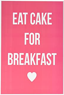 Stupell Home Décor Lulusimonstudio Eat Cake For Breakfast Pink Boutique Chic Wall Plaque, 10 x 0.5 x 15, Proudly Made in USA