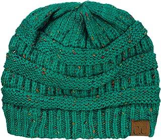de46f0f5631 C.C Unisex Colorful Confetti Soft Stretch Cable Knit Beanie Skull Cap - Sea  Green