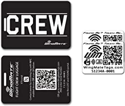 NFC Smart Locator Flight Crew Luggage Tag by Pilot Expressions with two NFC/QR Stickers