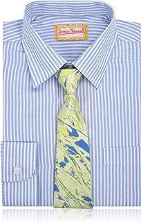 JAMES MORGAN Boys Blue Stripe Shirt and Splatter Tie