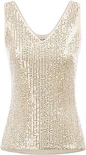 GRACE KARIN Women's Sleeveless Sparkle Sequin V-Neck Cami Sexy Club Tank Top