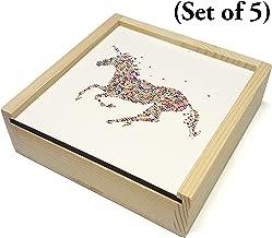 Unicorn Coasters - Multi-Color Unicorn - Set of 5-3.75 x 3.75 Inch 4mm Thick - Cork Bottom - Wood Coaster Set Holder - Makes Perfect Gift