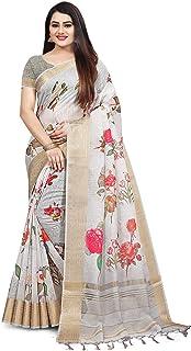 Rajnandini Women's Cotton Silk Digital Floral Print Traditional Saree With Blouse Piece (Grey)