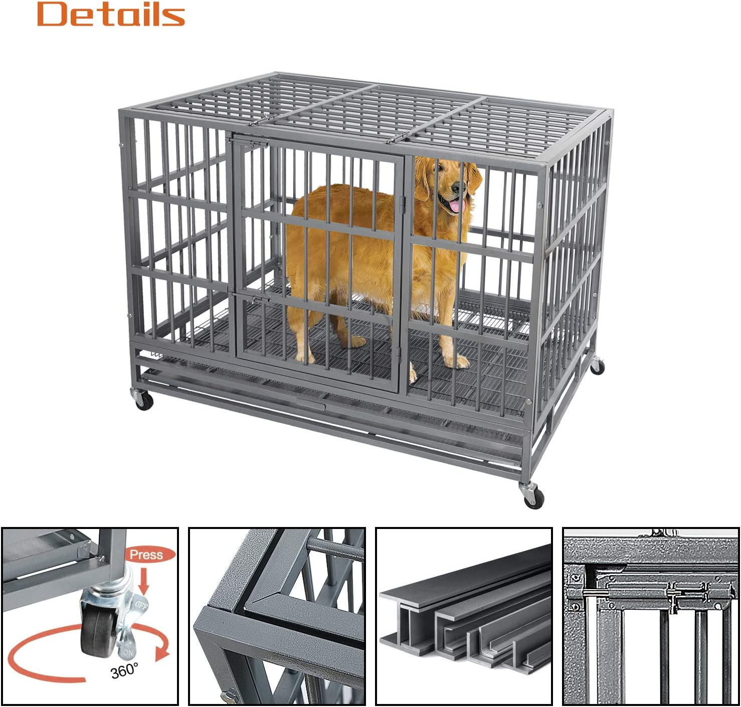 Double Door Strong Metal Dog Kennel with Removable Tray N\A Otaid Heavy Duty Dog Crate with 4 Wheels Dog Crates for Large Dogs Easily Removable Dog Cage for Travel Indoor/&Outdoor