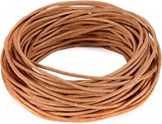 BEADNOVA Genuine Round Leather Cord Natural Leather Strips for Jewelry Making Bracelet Necklace Beading (11 Yards,1.5mm)