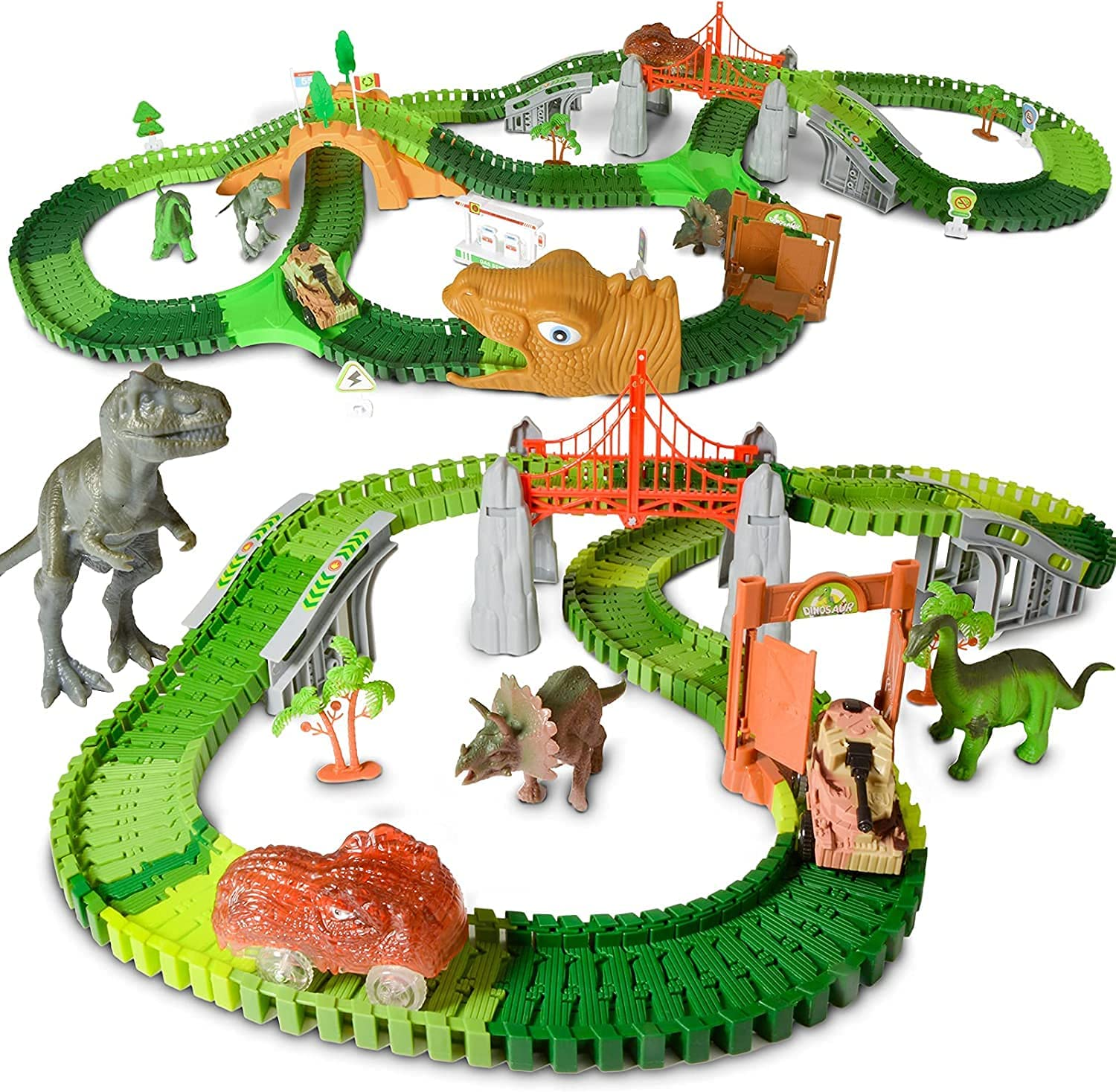 HOMETTER Dinosaur Race Track Car Toy Set for 3 4 5 6 7 8+ Years Old Boys and...
