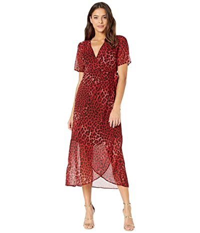 Bardot Leopard Wrap Dress (Red Leopard) Women