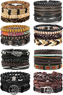 LOLIAS 31 Pcs Woven Leather Bracelet for Men Women Cool Leather Wrist Cuff Bracelets Adjustable