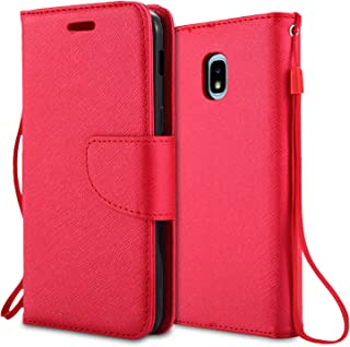 For Samsung Galaxy J3 (2018), J3 Achieve, J3 Star, Express Prime3, Amp Prime3, J3/J3V 3rd Gen SM-J337 Case, PU Leather Rhinestone Wallet Flip Phone Protective Case with Card Slots (WAL Red)