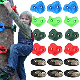 Odoland Ninja Tree Climbers, 12 Rock Climbing Holds with 6 Sturdy Ratchets and Straps for Safety, Climbing Monkey Ninja Warrior Training Equipment for Kid and Adult