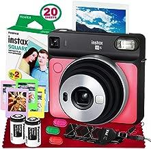 Fujifilm instax Square SQ6 Instant Film Camera (Ruby Red) + 20 Sheets Instax Square Instant Film + Xpix Camera Strap + Fibertique Cloth (USA Warrantty)