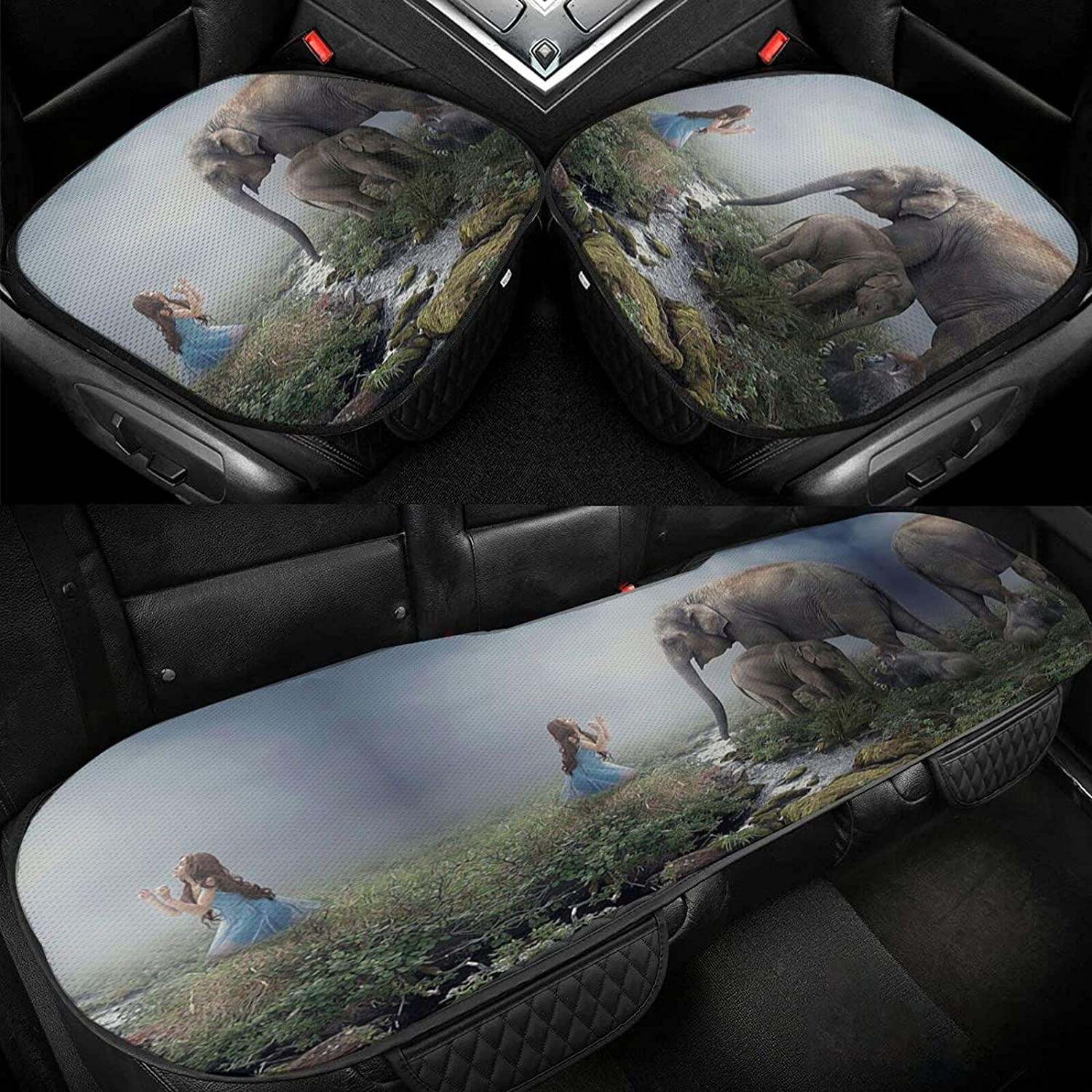 Elephant and Girl Car Seat Ice Silk 35% OFF Sale special price Driver Cov Cushion