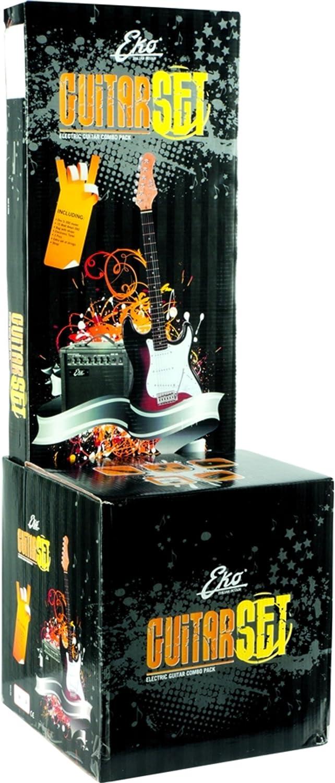 EKO Sunburst EG-11 Pack Sunburst - Guitarra eléctrica con afinador, bolsa, correa, amplificador de 15 W, color Sunburst