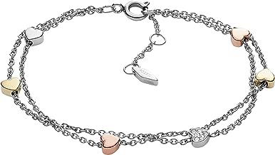 Fossil Womens Vintage Motif Double Strand Bracelet w/Heart Accents