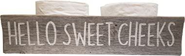 Rustic Wood Box for Toilet - Handpainted on Real Reclaimed Wood - Hello Sweet Cheeks (Hello - Print, Grey/White)
