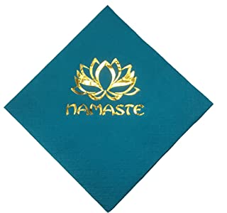 Yoga Napkins NAMASTE Party Beverage Cocktail Size 12 Count Paper Packaged and Ready for Gift Giving
