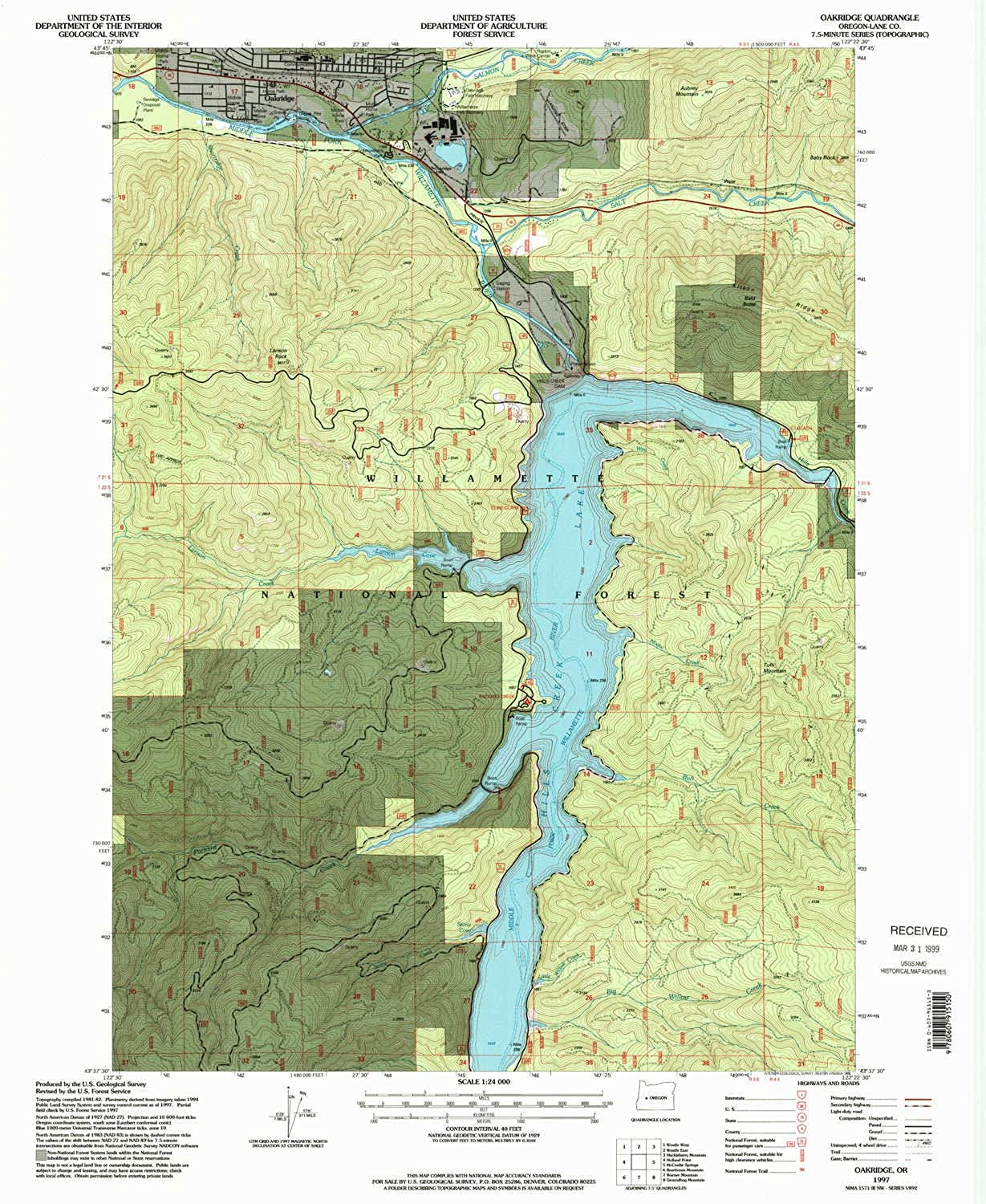 Oakridge OR topo map, 1 24000 Scale, 7.5 X 7.5 Minute, Historical, 1997, Updated 1998, 26.8 x 21.9 in