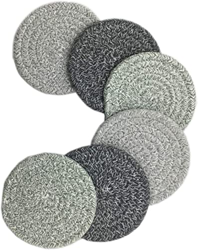 6 Pcs Absorbent Drink Coaster Set Braided Woven Color Pattern Dining Kitchen Modern Thicken Heat Insulation Round (pa...