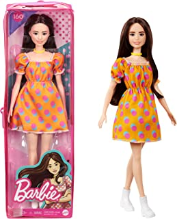 Barbie Fashionistas Doll #160 with Long Brunette Hair Wearing Patterned Orange Dress, White Shoes & Yellow Choker GRB52