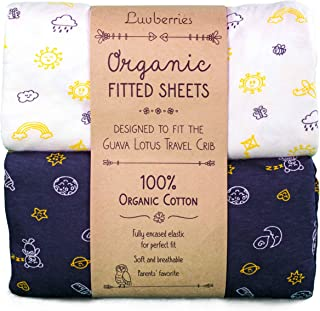 Guava Lotus Travel Crib Sheets (Set of 2) - 100% Organic Cotton Crib Sheets, Baby and Toddler, Fitted Crib Sheets, for Boys & Girls (for The New 4 TAB Mattress ONLY) (Day and Night)