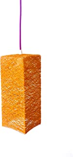 Lámpara de techo colgante prisma naranja decorativa de hilo de algodón, artesanal, hecha a mano 30x12 cms. - PRISM