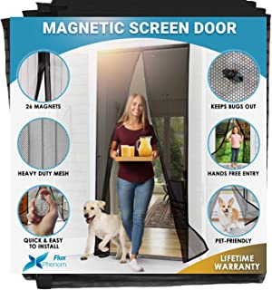 Flux Phenom Reinforced Magnetic Screen Door – Fits Doors up to 38 x 82 Inches (Black)
