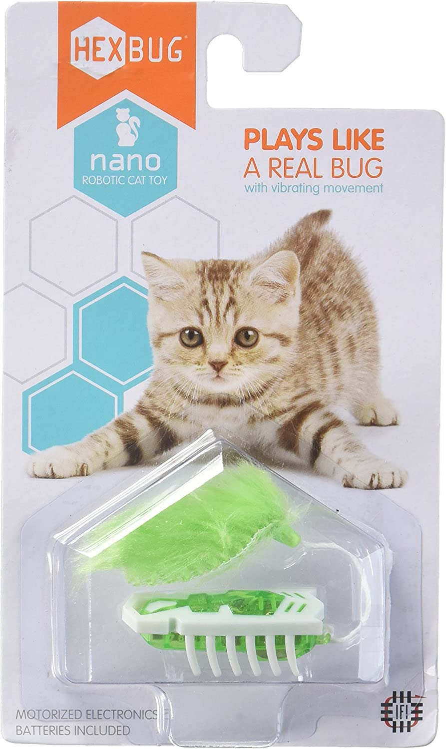 Hexbug Nano Robotic Bug Motorized Cat Toy White & Green