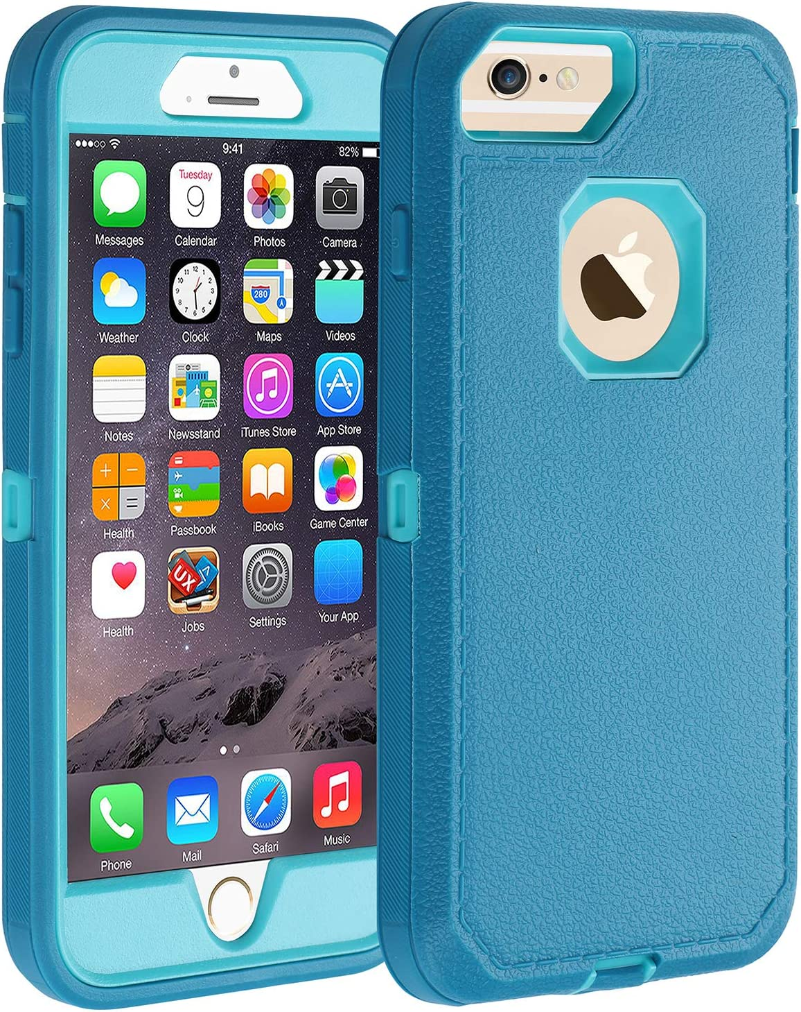 Co-Goldguard Case iPhone 7 No Screen Heavy Duty iPhone 8 Case Durable 3 in 1 Hard Cover Dust-Proof Shockproof Drop-Proof Scratch-Resistant Shell (Blue)