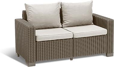 ALLIBERT California Canapé Lounge, 2Places 141 x 68 x 72 cm Cappuccino/Panama Sand