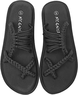 MEGNYA Women's Yoga Mat Flip Flops, Soft Hand-Braided Flat Sandals for Walking, Anti-Skid Strap Slippers for Shopping/Beac...