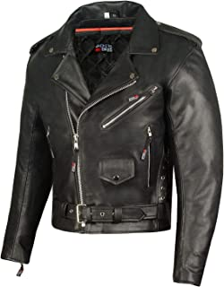 Men ICONIC Motorcycle Premium Natural Buffalo Leather Side Lace Biker Jacket L