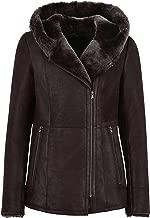 Ladies B3 Flying Sheepskin Shearling Jacket Dark Berry Fur Hooded Genuine NV 39