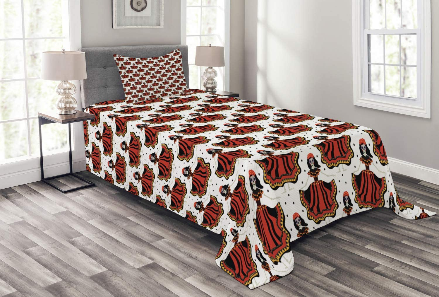 Ambesonne Ranking TOP14 Sugar Skull Bedspread Calavera Inspired Dead Catrina SEAL limited product