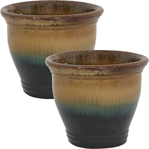 2021 Sunnydaze Studio Ceramic Flower Pot Planter with Drainage Holes - Set of 2 - High-Fired Glazed UV and sale Frost-Resistant Finish - Outdoor/Indoor Use - new arrival Forest Lake Green - 11-Inch outlet sale
